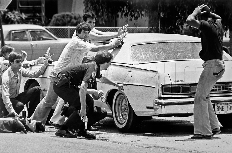 City of Miami police arrest suspects during a raid of a home in Miami drug bust, June 1979.