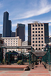 Downtown Seattle King Street Train Station and park