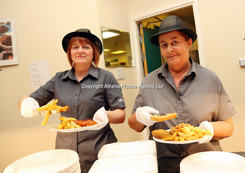 Pictured L-R: Lotto winners colleagues Andrea Davies and Clare Birchall at work at Neath Port Talbot hospital. Wednesday 08 November 2017<br /> Re: Presentation of hospital catering syndicate win £25m in Euromillions Jackpot at Hensol Castle, south Wales, UK. Julie Saunders, 56, Doreen Thompson, 56, Louise Ward, 37, Jean Cairns, 73, SIan Jones, 54 and Julie Amphlett, 50 all work as catering staff for Neath Port Talbot Hospital in south Wales.