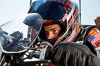 Sep 6, 2015; Clermont, IN, USA; NHRA pro stock motorcycle rider Eddie Krawiec during qualifying for the US Nationals at Lucas Oil Raceway. Mandatory Credit: Mark J. Rebilas-USA TODAY Sports