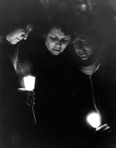 Vigil in front of Brighton District  Courthouse after the murder or Elizabeth McCandless where women who knew her from her self defense class grieve 12.18.92
