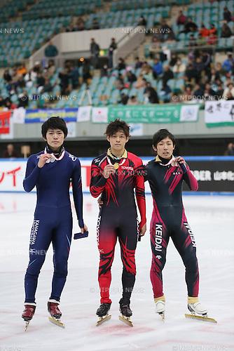 (L-R) Yoshiaki Oguro, Yuzo Takamido, Daisuke Uemura,<br /> DECEMBER 15, 2013 - Short Track :<br /> Short track Japan National Team Selection for Sochi Oympic Games, Men's 1000m final at Osaka Pool Ice Skating Rink, Osaka Japan. (Photo AFLO SPORT)
