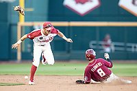 Florida State Seminoles outfielder JC Flowers (8) steals second base during Game 2 of the NCAA College World Series against the Arkansas Razorbacks on June 15, 2019 at TD Ameritrade Park in Omaha, Nebraska. Florida State defeated Arkansas 1-0. (Andrew Woolley/Four Seam Images)