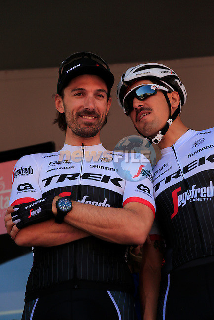 Fabian Cancelara (SUI) and Eugenio Alafaci (ITA) Trek-Segafredo at sign on before the start of Stage 2 of the 2016 Giro d'Italia running 190km from Arnhem to Nijmegen, The Nethrerlands. 7th May 2016.<br /> Picture: Eoin Clarke | Newsfile<br /> <br /> <br /> All photos usage must carry mandatory copyright credit (&copy; Newsfile | Eoin Clarke)