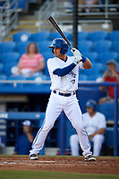 Dunedin Blue Jays catcher Mike Reeves (7) at bat during a game against the St. Lucie Mets on April 19, 2017 at Florida Auto Exchange Stadium in Dunedin, Florida.  Dunedin defeated St. Lucie 9-1.  (Mike Janes/Four Seam Images)