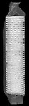 X-ray image of butter cracker stack (white on black) by Jim Wehtje, specialist in x-ray art and design images.