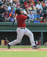 Outfielder Brandon Meredith (23) of the Lexington Legends, a Houston Astros affiliate, in a game against the Greenville Drive on July 19, 2012, at Fluor Field at the West End in Greenville, South Carolina. (Tom Priddy/Four Seam Images)