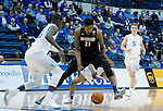 January 24, 2017:  San Diego State forward, Malik Pope #21, loses control of the ball and is injured in the ensuing scramble during the NCAA basketball game between the San Diego State Aztecs and the Air Force Academy Falcons, Clune Arena, U.S. Air Force Academy, Colorado Springs, Colorado.  Air Force defeats San Diego State 60-57.