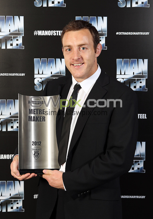 PICTURE BY VAUGHN RIDLEY/SWPIX.COM - Rugby League - Super League Man of Steel Dinner 2012 - The Point - LCCC - Old Trafford, Manchester, England - 01/10/12 - St Helens James Roby wins the Metre Maker Award.