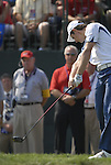 European Team player Justin Rose tees off on the 1st tee during the Singles on the Final Day of the Ryder Cup at Valhalla Golf Club, Louisville, Kentucky, USA, 21st September 2008 (Photo by Eoin Clarke/GOLFFILE)