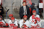 MADISON, WI - SEPTEMBER 29: Head coach Mark Johnson of the Wisconsin Badgers women's hockey team watches his team play against the Quinnipiac Bobcats at the Kohl Center on September 29, 2006 in Madison, Wisconsin. The Badgers beat the Bobcats 3-0. (Photo by David Stluka)