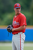 GCL Phillies West relief pitcher Alex Garcia (37) gets ready to deliver a pitch during a game against the GCL Blue Jays on August 7, 2018 at Bobby Mattick Complex in Dunedin, Florida.  GCL Blue Jays defeated GCL Phillies West 11-5.  (Mike Janes/Four Seam Images)