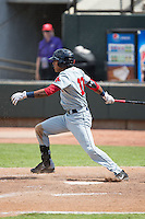 Deiner Lopez (10) of the Salem Red Sox follows through on his swing against the Winston-Salem Dash at BB&T Ballpark on May 31, 2015 in Winston-Salem, North Carolina.  The Red Sox defeated the Dash 6-5.  (Brian Westerholt/Four Seam Images)