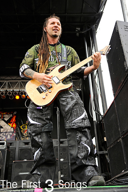 Zoltan Bathory of Five Finger Death Punch performs during X-Fest 2011 at the Montgomery County Fairgrounds in Dayton, Ohio on September 18, 2011.