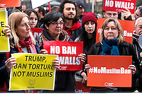 Cartelli 'no ban no walls' , No muslim ban' and 'Trump ban torture not muslims' banners<br /> Roma 02-02-2017. Ambasciata Americana. Manifestazione per protestare contro il 'muslim ban' attuato dal neo Presidente americano.<br /> Rome February 2nd 2017. American Embassy. Demonstration against 'muslim ban' of the newly elected American President.<br /> Foto Samantha Zucchi Insidefoto