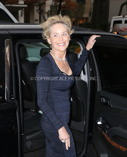 WWW.ACEPIXS.COM<br /> <br /> November 19 2015, New York City<br /> <br /> Actress Sharon Stone made an appearance at The View on November 19 2015 in New York City<br /> <br /> By Line: Zelig Shaul/ACE Pictures<br /> <br /> <br /> ACE Pictures, Inc.<br /> tel: 646 769 0430<br /> Email: info@acepixs.com<br /> www.acepixs.com