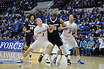 February 28, 2015 - Colorado Springs, Colorado, U.S. -  Air Force guard, Zach Kocur #5, and forward, Hayden Graham #35, work to block out Utah State's, Elston Jones #50, during an NCAA basketball game between the Utah State Aggies and the Air Force Academy Falcons at Clune Arena, U.S. Air Force Academy, Colorado Springs, Colorado.   Utah State defeats Air Force 74-60.