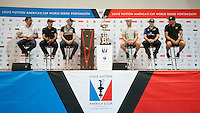 America's Cup skippers, JULY 21, 2016 - Sailing: L-R: Frank Cammas (FR) Skipper of Groupama Team France, Francesco Bruni Helmsman of Artemis Racing, Sir Ben Ainslie (GBR) Land Rover Bar Team principal and skipper, Jimmy Spithill (AU) Skipper and helmsman of Oracle Team USA, Glenn Ashby (NZ) Skipper & Sailing Director of Emirates Team New Zealand and Dean Barker, skipper/CEO of SoftBank Team Japan during the Louis Vuitton America's Cup World Series press conference, Portsmouth, United Kingdom. (Photo by Rob Munro/Stewart Communications)