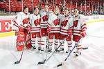 MADISON, WI - FEBRUARY 11: The seniors of the Wisconsin Badgers women's hockey team pose for a photo prior to the game against the Ohio State Buckeyes at the Kohl Center on February 11, 2007 in Madison, Wisconsin. The Badgers beat the Buckeyes 3-2. (Photo by David Stluka)