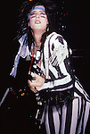Nikki Sixx of Motley Crue at Madison Square Garden Aug 1985.