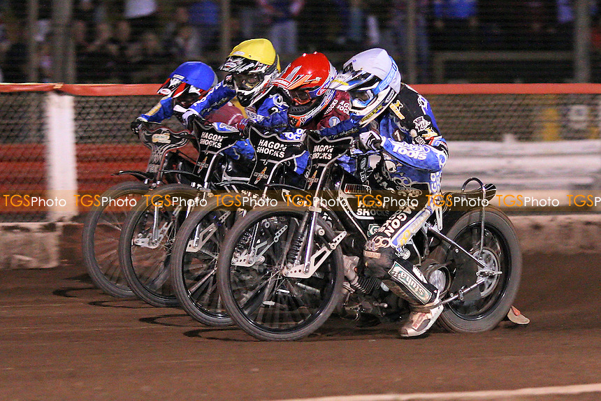 Heat 15: Lee Richardson (red), Adam Shields (blue), Chris Holder (white) and Darcy Ward - Lakeside Hammers vs Poole Pirates - Sky Sports Elite League Speedway at Arena Essex Raceway, Purfleet, Essex - 02/08/10 - MANDATORY CREDIT: Gavin Ellis/TGSPHOTO - Self billing applies where appropriate - Tel: 0845 094 6026