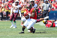 College Park, MD - September 22, 2018:  Maryland Terrapins wide receiver DJ Turner (1) catches a pass during the game between Minnesota and Maryland at  Capital One Field at Maryland Stadium in College Park, MD.  (Photo by Elliott Brown/Media Images International)