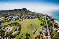 An aerial view of a human peace sign created on a sunny day in Kapi'olani Park, Honolulu, O'ahu.