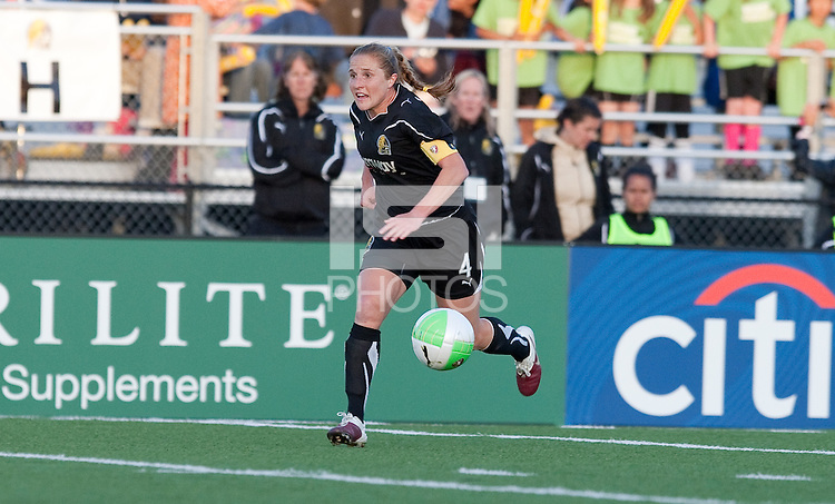 Rachel Buehler controls the ball. FC Gold Pride defeated the Atlanta Beat 2-1 at Castro Valley HS Athletic Stadium in Castro Valley, California on April 25th, 2010.
