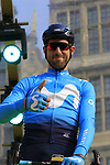 Imanol Erviti (ESP) Movistar Team at the team presentation in Antwerp before the start of the 2019 Ronde Van Vlaanderen 270km from Antwerp to Oudenaarde, Belgium. 7th April 2019.<br /> Picture: Eoin Clarke | Cyclefile<br /> <br /> All photos usage must carry mandatory copyright credit (&copy; Cyclefile | Eoin Clarke)