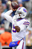 Sunday, October 2, 2016: Buffalo Bills quarterback Tyrod Taylor (5) throws the ball during the NFL game between the Buffalo Bills and the New England Patriots held at Gillette Stadium in Foxborough Massachusetts. Buffalo defeats New England 16-0. Eric Canha/Cal Sport Media