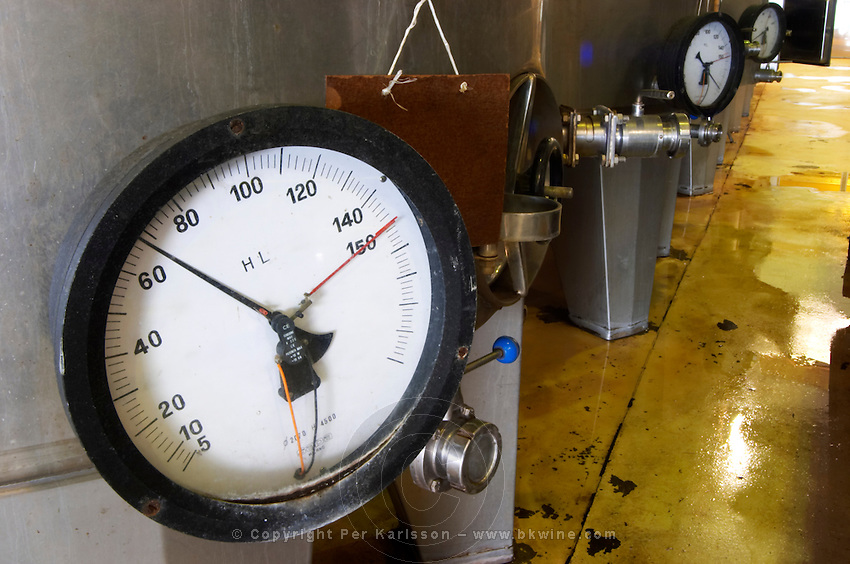In the winery a gauge gage showing how many hectolitres are in the fermentation tank. Vinedos y Bodega Filgueira Winery, Cuchilla Verde, Canelones, Montevideo, Uruguay, South America
