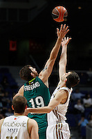 01.04.2012 SPAIN - ACB match played between Real Madrid vs Unicaja  at Palacio de los deportes stadium. The picture show Joel Freeland (Unicaja)