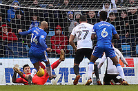 Peterborough United goalkeeper, Jonathan Bond makes a point blank save to deny Gillingham's Josh Parker during Gillingham vs Peterborough United, Sky Bet EFL League 1 Football at the MEMS Priestfield Stadium on 10th February 2018