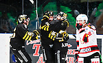 Stockholm 2014-10-14 Ishockey Hockeyallsvenskan AIK - Malm&ouml; Redhawks :  <br /> AIK:s Patric Blomdahl firar sitt 1-0 m&aring;l med lagkamrater<br /> (Foto: Kenta J&ouml;nsson) Nyckelord:  AIK Gnaget Hockeyallsvenskan Allsvenskan Hovet Johanneshov Isstadion Malm&ouml; Redhawks jubel gl&auml;dje lycka glad happy