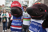 World Champion Peter Sagan (SVK/Bora Hansgrohe) posing with the mascottes of Tom Boonen's hometown MOL(e).  <br /> <br /> 105th Scheldeprijs 2017 (1.HC)<br /> 1day race: Mol &gt; Schoten 200km