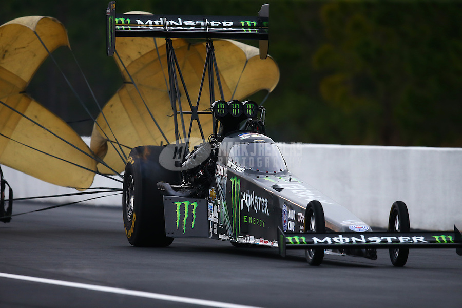 Mar 18, 2016; Gainesville, FL, USA; NHRA top fuel driver Brittany Force during qualifying for the Gatornationals at Auto Plus Raceway at Gainesville. Mandatory Credit: Mark J. Rebilas-USA TODAY Sports