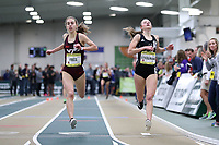 WINSTON-SALEM, NC - FEBRUARY 08: Sara Freix #5 of Virginia Tech finishes as the top college runner in a time of 9:11.85 over Hannah Steelman #9 of Wofford College's 9:11.88 in the Women's Camel City Elite 3000 Meters at JDL Fast Track on February 08, 2020 in Winston-Salem, North Carolina.