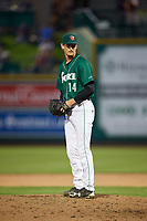 Fort Wayne TinCaps relief pitcher Caleb Boushley (14) looks in for the sign during a game against the West Michigan Whitecaps on May 17, 2018 at Parkview Field in Fort Wayne, Indiana.  Fort Wayne defeated West Michigan 7-3.  (Mike Janes/Four Seam Images)