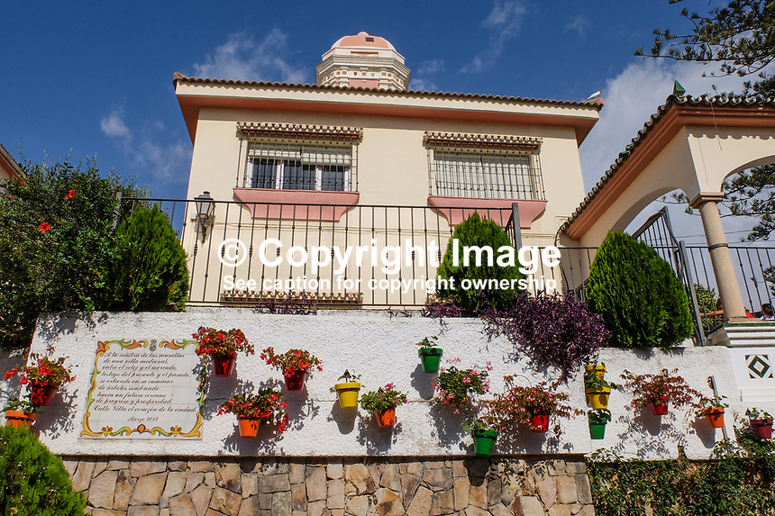 Villa, house, old town, Estepona, Malaga Province, Spain, October, 2018, 2018100816<br /> <br /> Copyright Image from Victor Patterson, Belfast, UK, BT9 5HG<br /> <br /> t: +44 28 9066 1296 (from Rep of Ireland 048 9066 1296)<br /> m: +44 7802 353836<br /> <br /> victorpattersonbelfast@gmail.com<br /> www.victorpatterson.com<br /> <br /> Please see my Terms and Conditions of Use at https://www.victorpatterson.com/page2<br /> It is IMPORTANT that you familiarise yourself with them.<br /> <br /> Images used on the Internet incur an additional cost and must be visibly watermarked i.e. © Victor Patterson within the body of the image and copyright metadata must not be deleted. Images used on the Internet have a size restriction of 4kbs and are chargeable at rates available at victorpatterson.com.<br /> <br /> This image is only available for the use of the download recipient i.e. television station, newspaper, magazine, book publisher, etc, and must not be passed on to any third party. It is also downloaded on condition that each and every usage is notified within 7 days to victorpattersonbelfast@gmail.com.<br /> <br /> The right of Victor Patterson to be identified as the author is asserted in accordance with The Copyright Designs And Patents Act (1988). All moral rights are asserted.