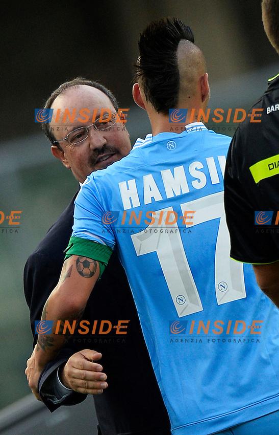 Rafael Benitez e Marek Hamsik Napoli <br /> Verona 31-08-2013 Stadio Bentegodi <br /> Football Calcio Campionato Italiano Serie A<br /> Chievo - Napoli <br /> Foto Andrea Staccioli Insidefoto