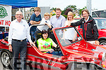Teresa Looney IKA tries out the Beach Buggy at the Killarney Valley Classic and Vintage show on Sunday in aid of the Irish Kidney Association and the Kerry mountain rescue Connie Brosnan IKA, Evan and Isaac Casey, Tom Leslie, and John O'Sullivan KMR