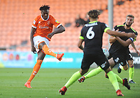 Blackpool's Armand Gnanduillet shoots<br /> <br /> Photographer Kevin Barnes/CameraSport<br /> <br /> The Carabao Cup First Round - Blackpool v Macclesfield Town - Tuesday 13th August 2019 - Bloomfield Road - Blackpool<br />  <br /> World Copyright © 2019 CameraSport. All rights reserved. 43 Linden Ave. Countesthorpe. Leicester. England. LE8 5PG - Tel: +44 (0) 116 277 4147 - admin@camerasport.com - www.camerasport.com