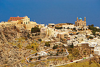 Ano Syros Catholic basilica of San Giorgio looking towards [ right ] the Greek Orthodox church of Anastasis,  Syros [ ????? ] , Greek Cyclades Islands