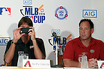 (L-R) Randy Johnson, Luis Gonzalez, AUGUST 18, 2015 - Baseball : Randy Johnson, CEO of the Arizona Diamondbacks,  and Luis Gonzalez attend AIG Presents 'MLB CUP 2016' press conference at Tokyo Japan on 18 Aug 2015. The Little League Baseball tournament for Japanese 4th and 5th grade elementary school children is part sponsored by the MLB and the winning team will be invited to watch an MLB game.  (Photo by Motoo Naka/AFLO)