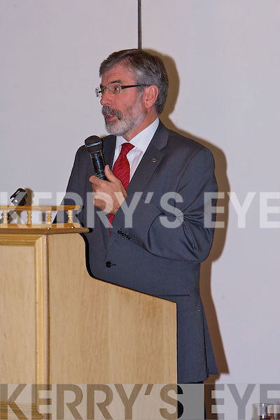 CONVENTION: President of Sein Fein Gerry Adams addressing the North Kerry and West Limerick delegates at the Sein fein selection convention at the Earl of Desmond hotel, Tralee on Thursday.