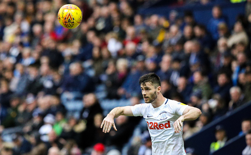 Preston North End's Andrew Hughes takes a throw in<br /> <br /> Photographer Alex Dodd/CameraSport<br /> <br /> The EFL Sky Bet Championship - Preston North End v Nottingham Forest - Saturday 16th February 2019 - Deepdale Stadium - Preston<br /> <br /> World Copyright © 2019 CameraSport. All rights reserved. 43 Linden Ave. Countesthorpe. Leicester. England. LE8 5PG - Tel: +44 (0) 116 277 4147 - admin@camerasport.com - www.camerasport.com