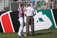 Rafael Cabrera-Bello (ESP) and Ernie Els (RSA) on the final day of the DUBAI WORLD CHAMPIONSHIP presented by DP World, Jumeirah Golf Estates, Dubai, United Arab Emirates.Picture Denise Cleary www.golffile.ie
