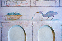 Roman Frescoes of the The Large Columbarium in Villa Doria Panphilj, Rome. A columbarium is usually a type of tomb with walls lined by niches that hold urns containing the ashes of the dead.  Large columbaria were built in Rome between the end of the Republican Era and the Flavio Principality (second half of the first century AD).  Museo Nazionale Romano ( National Roman Museum), Rome, Italy.
