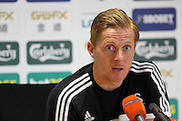 Thursday, 27 March 2014<br /> Pictured: Head coach Garry Monk<br /> Re: Swansea City FC press conference at the Liberty Stadium,ahead of this Saturday's Premier League game against Norwich.