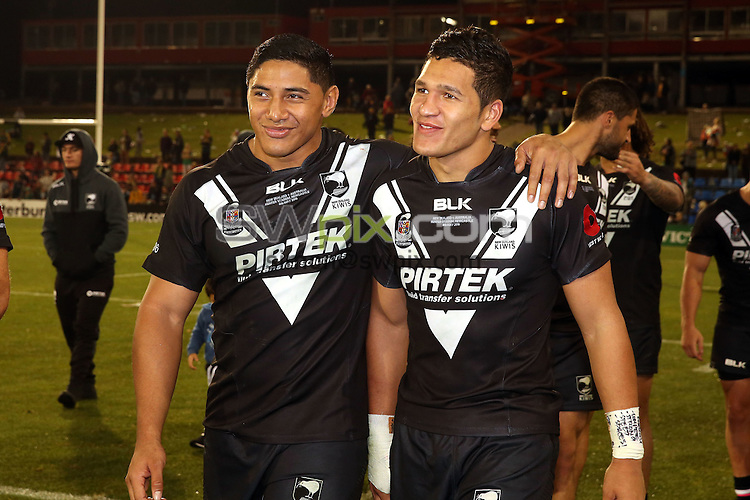 Jason Taumalolo and Dallin Watene-Zelezniak<br /> Trans Tasman NZRL Kiwis v Australia Test Match at Hunter Stadium, Newcastle, Australia. Friday 6 May 2016. Photo: Paul Seiser / www.photosport.nz / SWpix.com